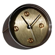 Clock GUCCI Brass and Leather Quartz Desk Timepiece | From a unique collection of vintage desk accessories at https://www.1stdibs.com/jewelry/objets-dart-vertu/desk-accessories/