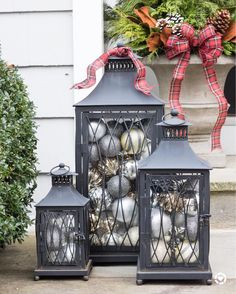 Vintage Decor Diy Christmas home tour - a set of lanterns filled with ornaments used as simple front porch Christmas decorations Lantern Christmas Decor, Diy Christmas Decorations For Home, Christmas Porch, Rustic Christmas, Christmas Lights, Christmas Holidays, Christmas Crafts, Christmas Ornaments, Gold Ornaments