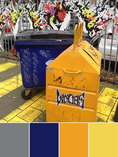 Inspired by The Streets with grey, blue, ocher and yellow // color inspiration // via label1114.nl