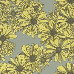 Cosmo Margarita (Cosmo Margarita) - AbigailRyan Wallpapers - An amazingly bright coloured design, of the Cosmo daisy flower.  Available in two colourways, shown here in the bold khaki grey background, with chartreuse yellow flowers, drawn in deep olive green. Please request sample for true colour match.