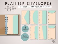 IMPORTANT NOTE: This product does not include scoring lines due to the different format of different cutting machine brands when scoring. You will need to score & fold this set manually. This planner envelopes set will fit 6-ring planners in Personal Size (3.7 x 6.7″ or 95mm x 171mm). Includes 8 designs: 1) side straight flap envelope 2) pointed flap envelope 3) half ellipse flap envelope 4) scalloped flap envelope 5a) curvy flap envelope 5b) slanted flap envelope 6) top straight flap envelo Diy Crafts Quotes, How To Make Planner, Cute School Supplies, Cutting Files, Die Cutting, Diy Stickers, Planner Pages, Bookbinding, Cartonnage