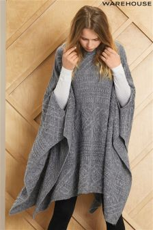 Warehouse Grey Cable Poncho