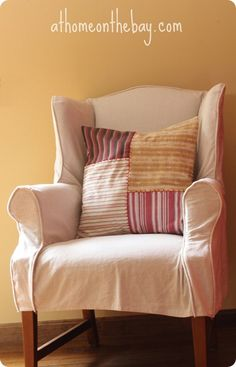 """{knockoffdecor}: """"loving the look of patchy, pieced-together pillows. Mary from At Home on the Bay shares a great tutorial to create your own pillows that feature blocks of stripes finished with embroidery detail. As always, it is the hand stitching that is my favorite part. Mary suggests checking out kitchen towels for this project since they usually come in all kinds of striped patterns."""""""