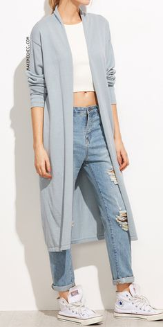 Blue Drop Shoulder Open Front Long Cardigan