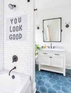 Hexagon Tile Bathroom, Mold In Bathroom, Tiny Bathrooms, Beautiful Bathrooms, Bathroom Flooring, Bathroom Fixtures, Master Bathroom, Tile Flooring, Bathroom Cabinets
