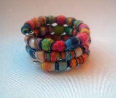 ✯Δ Bright Micro Recycled Paper #Bead #Wrap Finger Ring -- #Size 4.25 by Curb... http://etsy.me/2fKQihc