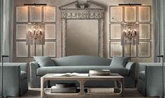 Restoration Hardware - Belgian Camelback Chair Classic Slipcovered Down Belgian Linen Spruce, Entablature Mirror Large - Antiqued Grey, Martens Rectangular Large Coffee Table, Vaille Crystal Floor Lamp Big Design, House Design, Restoration Hardware Living Room, Living Room Inspiration, Luxury Living, Home And Living, Home Furnishings, Decoration, Luxury Homes