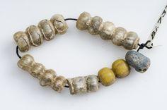 Beads Glass, silver and gold foil   Grave find, Björkö, Adelsö, Uppland, Sweden. SHM 34000:Bj 737A