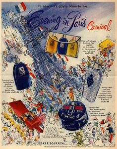 1950 Evening in Paris Carnival by Bourjois ad