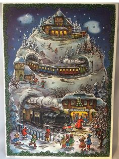 1940s German ADVENT CALENDAR winter TRAIN