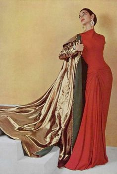 Photo:  Phillippe Pottier _ Mme Gres 1955 50s color photo red orange evening gown dress long print ad model magazine designer couture gold coat