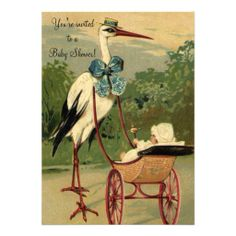 Vintage Victorian Stork Carriage Baby Shower Personalized Announcements
