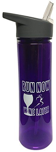 Run Now Wine Later Purple Tritan Water Bottle With Flip Top lid and straw ** See this great product.Note:It is affiliate link to Amazon.