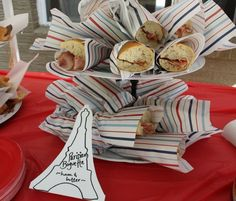 french theme first birthday: paper wrapped baguette sandwiches