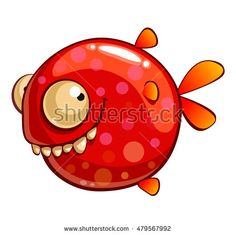 Red funny fish. Isolated vector cartoon character