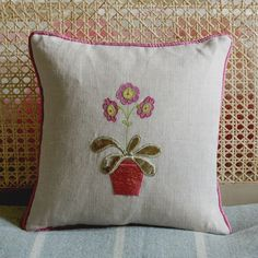 Linen cushion - Auricula in Pot