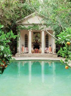quiet garden pool with outdoor living space