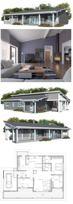 Small house plan in modern architecture, three bedrooms, suitable to small lot, spacious living room.