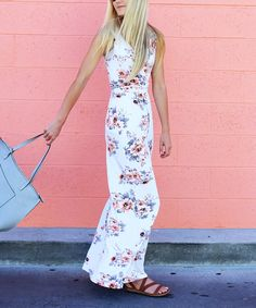 Love this So Perla Ivory & Lavender Floral Sleeveless Wrap Maxi Dress by So Perla on #zulily! #zulilyfinds