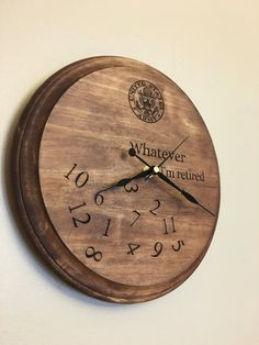 Custom wood burned retirement clock gift army