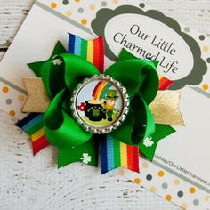 St. Patricks Day Hair Bow St Patty's Day by OurLittleCharmedLife, $5.50