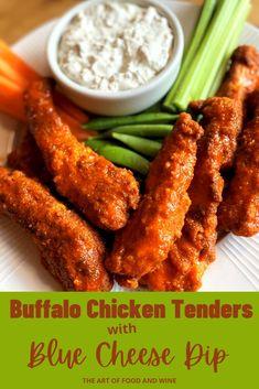Chicken Tender Recipes, Meat Recipes, Wine Recipes, Snack Recipes, Buffalo Chicken Tenders, Crispy Chicken Tenders, Easy Family Dinners, Easy Meals, Homemade Buffalo Sauce