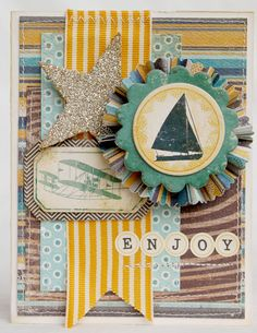 I love the colours in this and the layout and the ribbon!