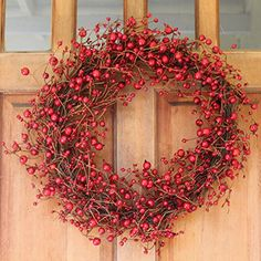 Ridgewood Red Berry Wreath 24 Inch All Weather Outdoor Wreath That Lasts For Years Stunning Red Berry Design For Thanksgiving Plus All Winter Beautiful White Gift Box And Hanging Loop Included >>> Read more at the image link. (This is an affiliate link)