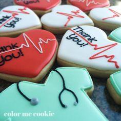 """A few thank you cookies today.  Could read Congratulations, ICU Nurse, EKG  Tech, Cardiologist, eg"