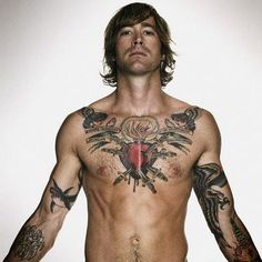 Mens Chest #Tattoo With Daggers In The Heart