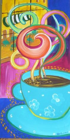 My Coffee Painting by Marilena Pilla Coffee Art, I Love Coffee, My Coffee, Morning Coffee, Coffee Shop, Coffee Cups, Tea Cups, Coffee Maker, Morning Morning