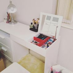 """Concurred IKEA furniture all by myself ✨ #IKEA #brimnes #makeup #brushes #white #vanitytable #dressingtable #desk"""