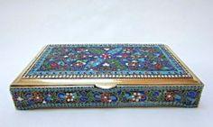 Exceptional Russian Silver Enamel Box 439 Grams