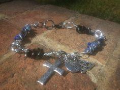 Lapis & black Jasper charm bracelet - Lady Star's & Fire, Natural Bleandings, Magical Charms & Understandings