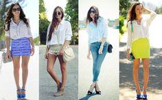 Hoje vamos falar sobre aqueles itens essenciais do guarda-roupa feminino! E, a primeira dica é a camisa branca!    Clássica, ela é essencial por sua versatilidade, uma vez que pode compor tanto looks formais como informais! Vale usar com saia, short, calça, sobrepondo blusas ou vestidos! =)