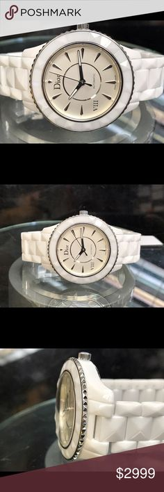 Christain Dior ceramic women's automatic watch Was used 1-2 times like new. No box.  Skeleton back. Rotating bezel. Automatic swiss made movement. Reasonable offers welcome. Christian Dior Accessories Watches