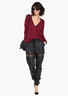 Rebecca Wrap Top in Burgundy   Necessary Clothing