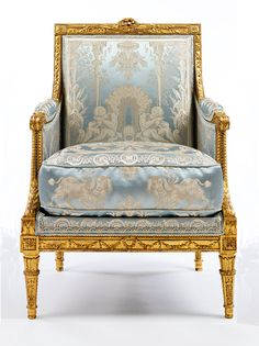 Armchair, by Georges Jacob, about France (Paris), gilded walnut with modern upholstery. © Victoria and Albert Museum, London French Furniture, Classic Furniture, Furniture Styles, Unique Furniture, Rustic Furniture, Luxury Furniture, Vintage Furniture, Furniture Buyers, Furniture Nyc
