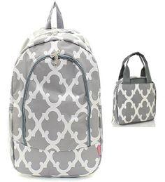 Grey & White Geometric Backpack W Matching Lunch Bag - Handbags, Bling & More!