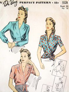 1940s FABULOUS Peplum Cross Over WRAP Blouse Pattern DuBARRY 5528 Three Lovely Styles WW II War Time Era Bust 34 Vintage Sewing Pattern