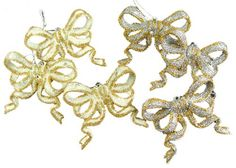 """Club Pack of 432 Bow Christmas Ornaments Item #18077 Add some sparkle to you holiday with these glitter drenched bow ornaments Fully dimensional ornaments Come ready-to-hang on gold or silver cords Dimensions: 3""""H Material(s): plastic Pack of 432 ornaments - includes 144 of each style shown"""
