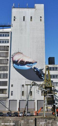Artist: Smates, street art mural in Belguim Best Street Art, 3d Street Art, Amazing Street Art, Street Artists, Amazing Art, Murals Street Art, Graffiti Murals, Street Art Graffiti, Instalation Art