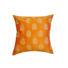 Orange and Linen Henna Embroidered Throw Pillow (India) | Overstock.com