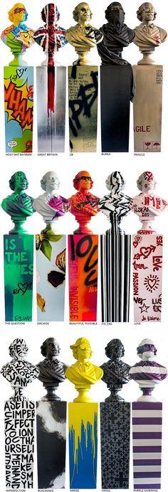 Shakespeare in Disguise Busts by Jimmie Martin Graffiti Furniture, Art Furniture, Sculpture Art, Sculptures, Hand Painted Furniture, Arte Pop, Art Mural, Graphic, Installation Art