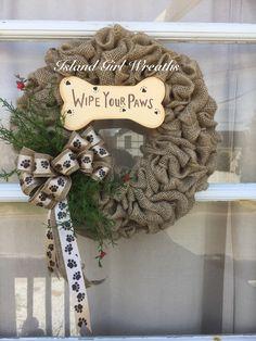 Dog Wreath, Pet Wreath, Dog Lovers Wreath by IslandGirlWreaths on Etsy https://www.etsy.com/listing/231816314/dog-wreath-pet-wreath-dog-lovers-wreath