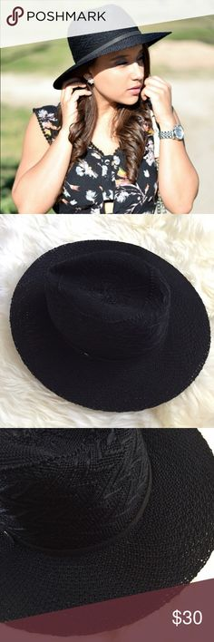 Black Fedora Crochet Knit Panama Hat New with tags. Perfect hat for summer or fall. Black knit material with a black suede trimming around. ❌NO TRADES OR PAYPAL❌ Express Accessories Hats