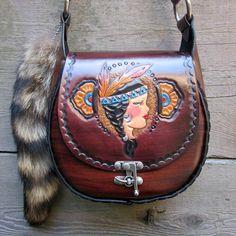 Tiger Lily Hand Tooled Leather Tattoo Flash Pin Up Purse Handbag