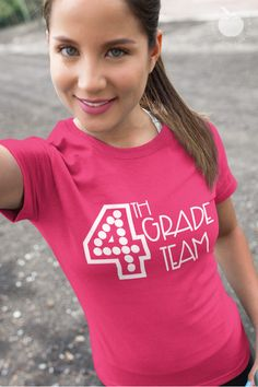 This comfortable and flattering t-shirt will be your new favorite 4th grade teacher tee.  Available in a variety of bright and fun colors, this grade level team tee will be perfect to add to your Teacher Tee Friday collection.  Perfect for yourself, your teaching bestie, or your fourth grade team, grab this cute and affordable tee for every fourth grade teacher in your life!  #4thgrade #fourthgrade #teachertee