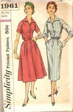 1950s Dress Pattern Bust 35 Bloused V Neckline Dress size 14 1/2 Simplicity 1961