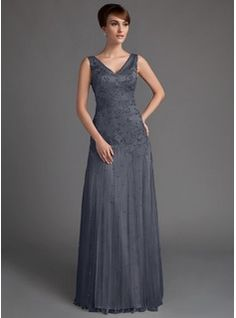 A-Line/Princess V-neck Floor-Length Tulle Lace Mother of the Bride Dress With Beading Sequins (008005647) - JJsHouse